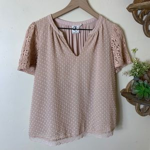 Romantic Anthropologie blush lace blouse